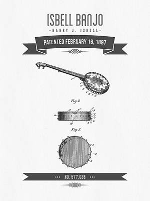 1897 Isbell Banjo Patent Drawing Poster
