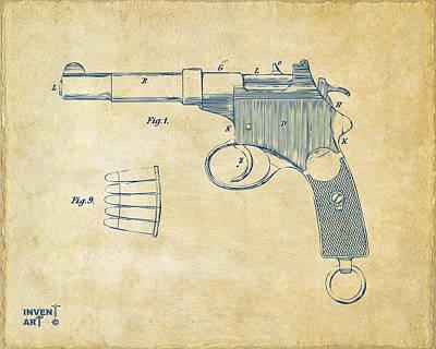 1897 Mannlicher Pistol Patent Minimal - Vintage Poster by Nikki Marie Smith