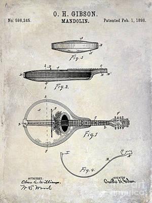 1898 Gibson Mandolin Patent Drawing Poster by Jon Neidert