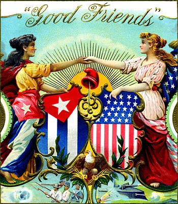 1898 Good Friends Cuban Cigars Poster