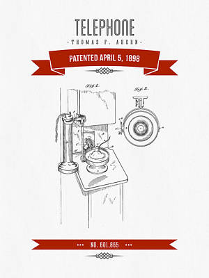 1898 Telephone Patent Drawing - Retro Red Poster
