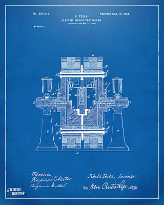 1898 Tesla Electric Circuit Patent Artwork - Blueprint Poster