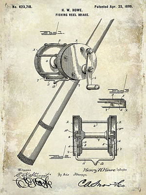 1899 Fishing Reel Brake Patent Drawing Poster by Jon Neidert