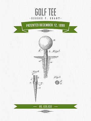 1899 Golf Tee Patent Drawing - Retro Green Poster