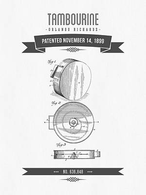 1899 Tambourine Patent Drawing Poster by Aged Pixel