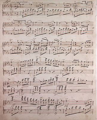 Handwritten Sheet Music, Music Notes, 19th Century Poster by Litz Collection
