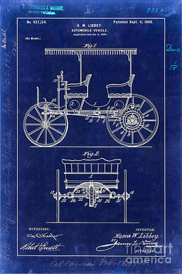 1900 Automobile Patent Drawing Blue Poster