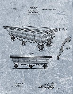 1900 Billiards Table Patent Blue Poster