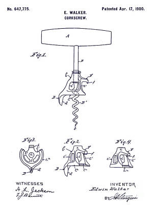 1900 Corkscrew Patent Blueprint Poster