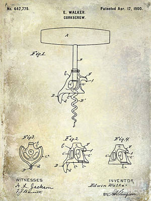 1900 Corkscrew Patent Drawing Poster by Jon Neidert