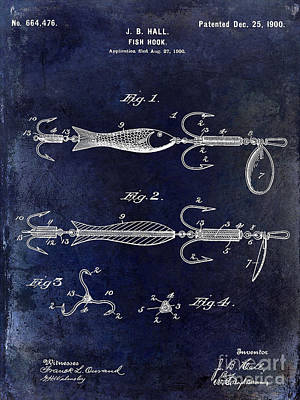 1900 Fishing Hook Patent Drawing Blue Poster