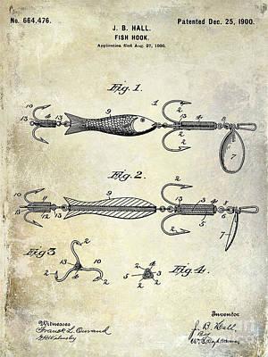 1900 Fishing Hook Patent Drawing Poster