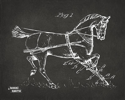 1900 Horse Hobble Patent Artwork - Gray Poster