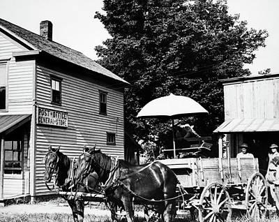 1900s Drawn Farm Wagon At General Store Poster