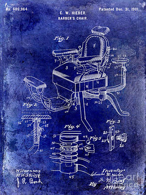 1901 Barber Chair Patent Drawing Blue Poster