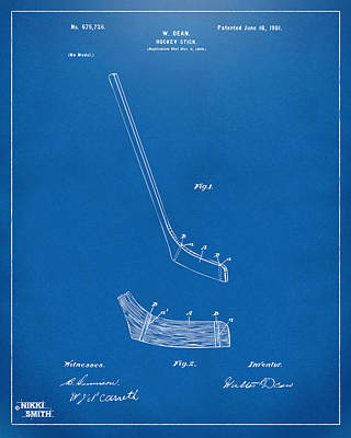 1901 Hockey Stick Patent Artwork - Blueprint Poster by Nikki Marie Smith