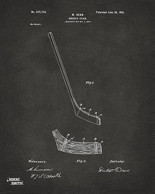 1901 Hockey Stick Patent Artwork - Gray Poster by Nikki Marie Smith
