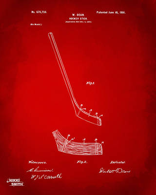 1901 Hockey Stick Patent Artwork - Red Poster by Nikki Marie Smith