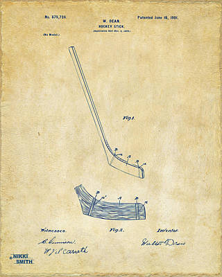 1901 Hockey Stick Patent Artwork - Vintage Poster by Nikki Marie Smith