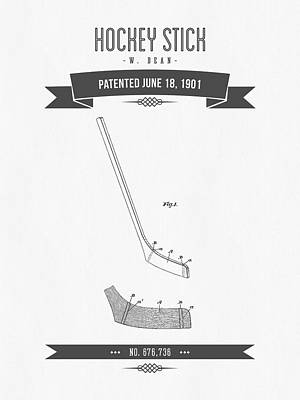 1901 Hockey Stick Patent Drawing - Retro Gray Poster by Aged Pixel