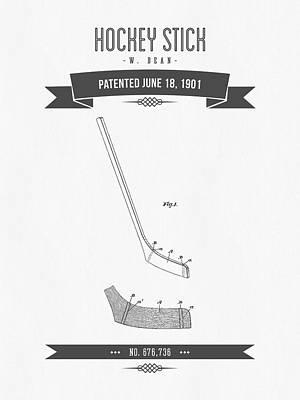 1901 Hockey Stick Patent Drawing - Retro Gray Poster