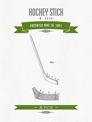 1901 Hockey Stick Patent Drawing - Retro Green Poster