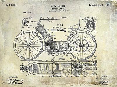 1901 Motorcycle Patent Drawing Poster by Jon Neidert