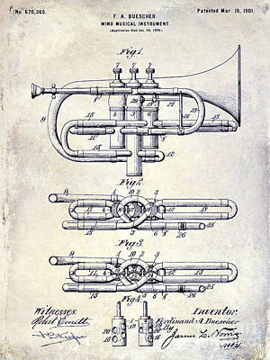 1901 Wind Musical Instrument Patent Drawing  Poster
