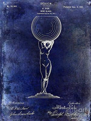 1901 Wine Glass Design Patent Blue Poster