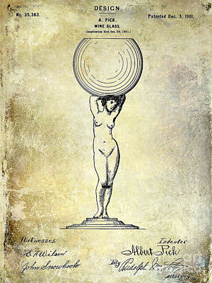 1901 Wine Glass Design Patent Poster
