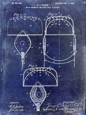 1902 Football Helmet Patent Drawing Blue Poster