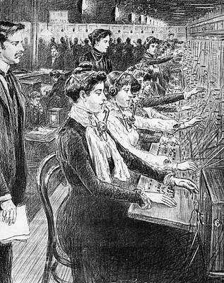 1902 Illustration Women Switchboard Poster