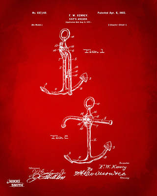 1902 Ships Anchor Patent Artwork - Red Poster