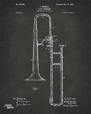 1902 Slide Trombone Patent Artwork - Gray Poster