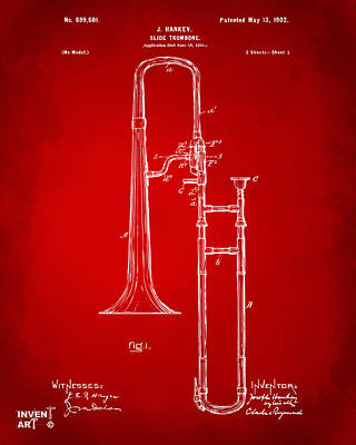 1902 Slide Trombone Patent Artwork Red Poster
