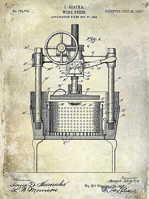 1902 Wine Press Patent Drawing Poster by Jon Neidert