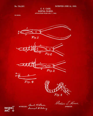 1903 Dental Pliers Patent Red Poster by Nikki Marie Smith