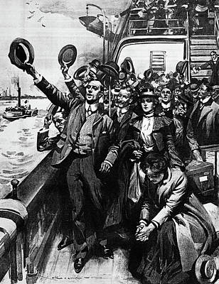 1903 Drawing Of Group Of Immigrants Poster