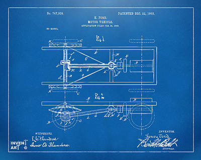 1903 Henry Ford Model T Patent Blueprint Poster by Nikki Marie Smith