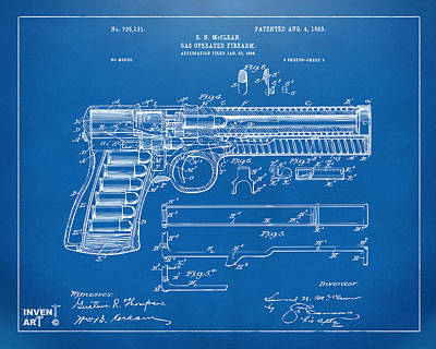 1903 Mcclean Pistol Patent Artwork - Blueprint Poster