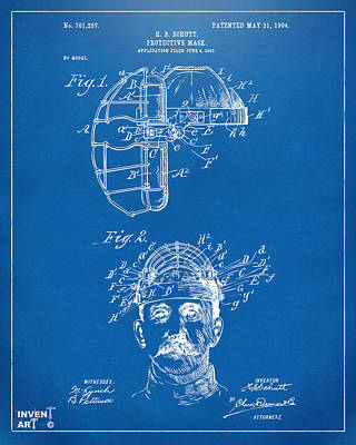1904 Baseball Catchers Mask Patent Artwork - Blueprint Poster by Nikki Marie Smith