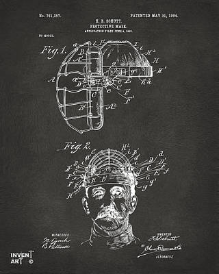 1904 Baseball Catchers Mask Patent Artwork - Gray Poster by Nikki Marie Smith