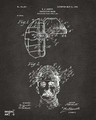 1904 Baseball Catchers Mask Patent Artwork - Gray Poster