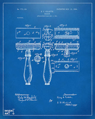 1904 Gillette Razor Patent Artwork Blueprint Poster by Nikki Marie Smith