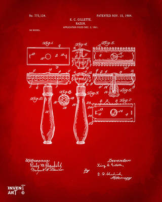 1904 Gillette Razor Patent Artwork Red Poster by Nikki Marie Smith