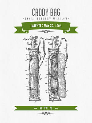 1905 Caddy Bag Patent Drawing - Retro Green Poster by Aged Pixel