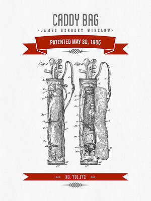 1905 Caddy Bag Patent Drawing - Retro Red Poster by Aged Pixel