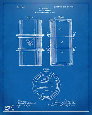 1905 Oil Drum Patent Artwork - Blueprint Poster by Nikki Marie Smith