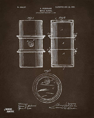 1905 Oil Drum Patent Artwork Espresso Poster by Nikki Marie Smith