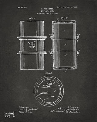 1905 Oil Drum Patent Artwork - Gray Poster by Nikki Marie Smith